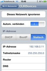 IP Adress einstellen im Iphone